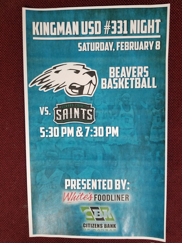 Pratt Community College, along with Whites Foodliner and Citizens Bank, are sponsoring a Kingman Night this coming Saturday when PCC plays Seward County. FREE tickets are available here at KEMS. If you would like to attend please stop by and pick up your tickets.